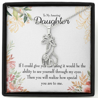 To my Daughter Ability to See Giraffe Charm Necklace Message Card CZ Pendant Stainless Steel 14k or 18k Gold