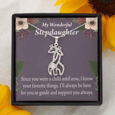 To my Stepdaughter Wonderful Stepdaughter HeartKeeper Giraffe Charm Necklace Message Card CZ Pendant Stainless Steel 14k or 18k Gold
