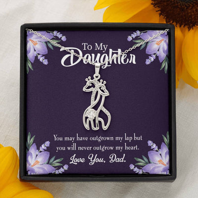 To my Daughter Never Outgrow my Heart, Dad Giraffe Charm Necklace Message Card CZ Pendant Stainless Steel 14k or 18k Gold