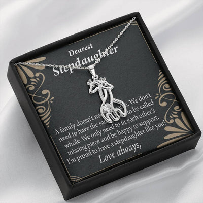 To my Stepdaughter Family Reminder Giraffe Charm Necklace Message Card CZ Pendant Stainless Steel 14k or 18k Gold - Express Your Love Gifts