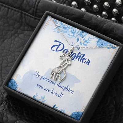To my Daughter To my Precious Daughter Giraffe Charm Necklace Message Card CZ Pendant Stainless Steel 14k or 18k Gold