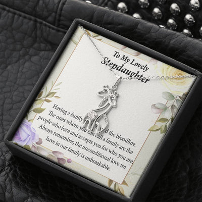 To my Stepdaughter Unbreakable Bond Giraffe Charm Necklace Message Card CZ Pendant Stainless Steel 14k or 18k Gold - Express Your Love Gifts