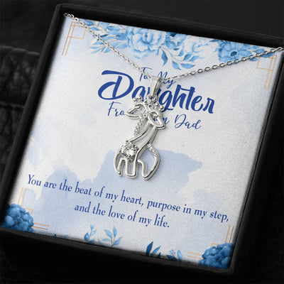 To my Daughter Beat of my Heart Giraffe Charm Necklace Message Card CZ Pendant Stainless Steel 14k or 18k Gold