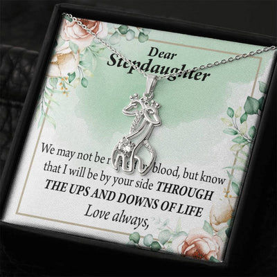 To my Stepdaughter Love Always Giraffe Charm Necklace Message Card CZ Pendant Stainless Steel 14k or 18k Gold - Express Your Love Gifts