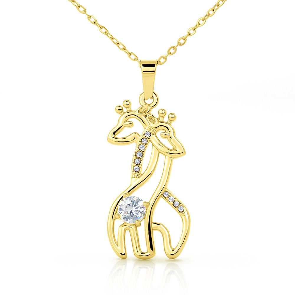 To my Daughter Snuggled into Dad's Heart Giraffe Charm Necklace Message Card CZ Pendant Stainless Steel 14k or 18k Gold
