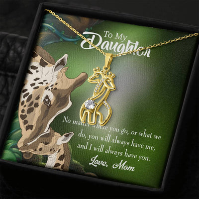 To my Daughter Mom Will Always Have You Giraffe Charm Necklace Message Card CZ Pendant Stainless Steel 14k or 18k Gold