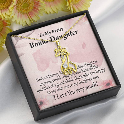 To my Stepdaughter Bonus Daughter All the Qualities Giraffe Charm Necklace Message Card CZ Pendant Stainless Steel 14k or 18k Gold