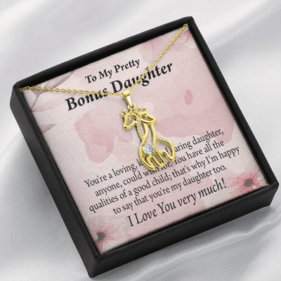 To my Stepdaughter Bonus Daughter All the Qualities Giraffe Charm Necklace Message Card CZ Pendant Stainless Steel 14k or 18k Gold - Express Your Love Gifts
