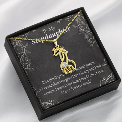 To my Stepdaughter Proud of You Giraffe Charm Necklace Message Card CZ Pendant Stainless Steel 14k or 18k Gold - Express Your Love Gifts