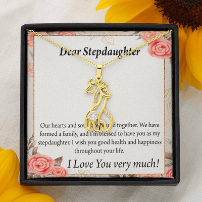 To my Stepdaughter Bound Together Giraffe Charm Necklace Message Card CZ Pendant Stainless Steel 14k or 18k Gold - Express Your Love Gifts