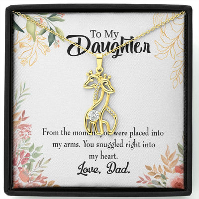 To my Daughter Snuggled into my Heart, Dad Giraffe Charm Necklace Message Card CZ Pendant Stainless Steel 14k or 18k Gold
