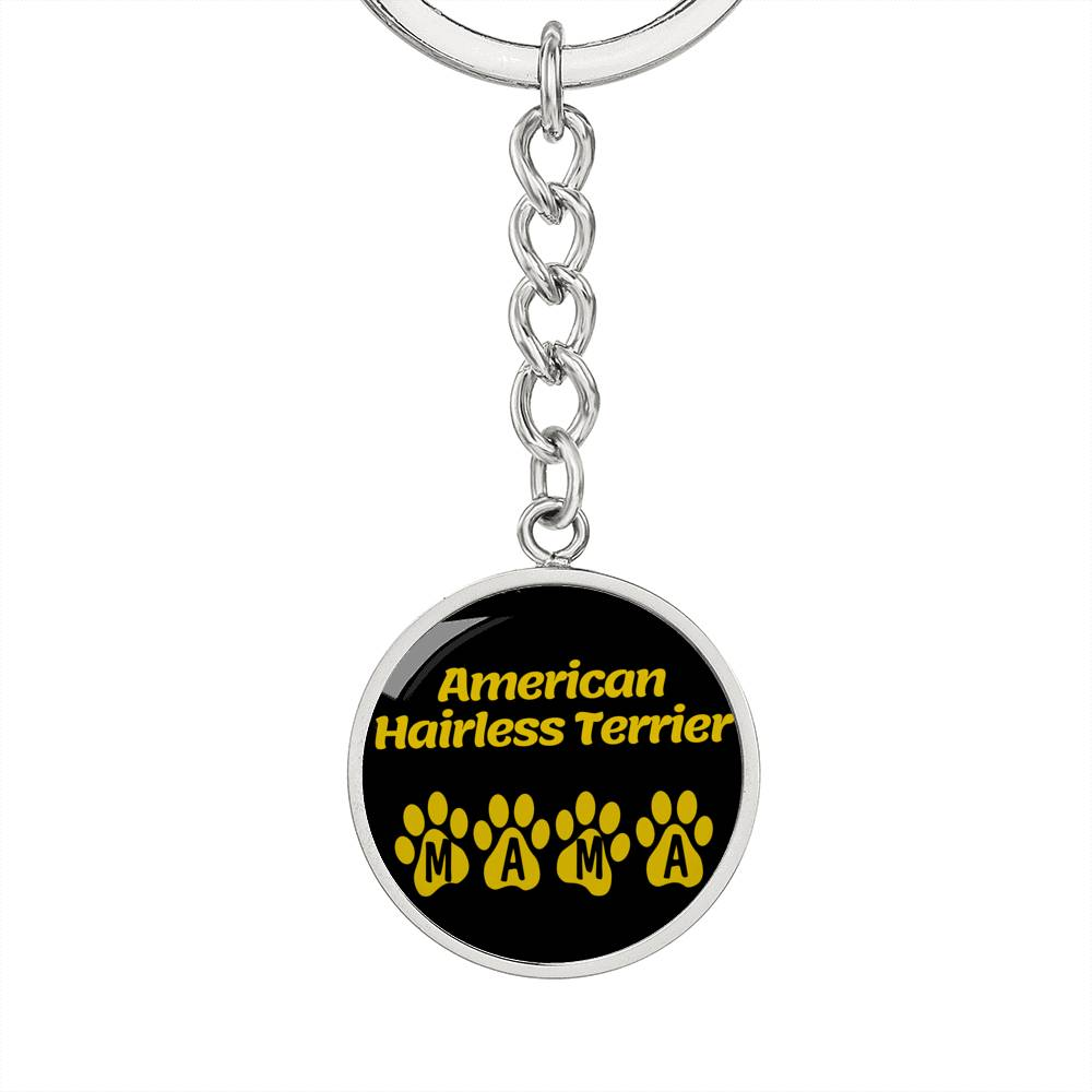 Dog Mom Gift American Hairless Terrier Mama Circle Keychain Stainless Steel or 18k Gold - Express Your Love Gifts