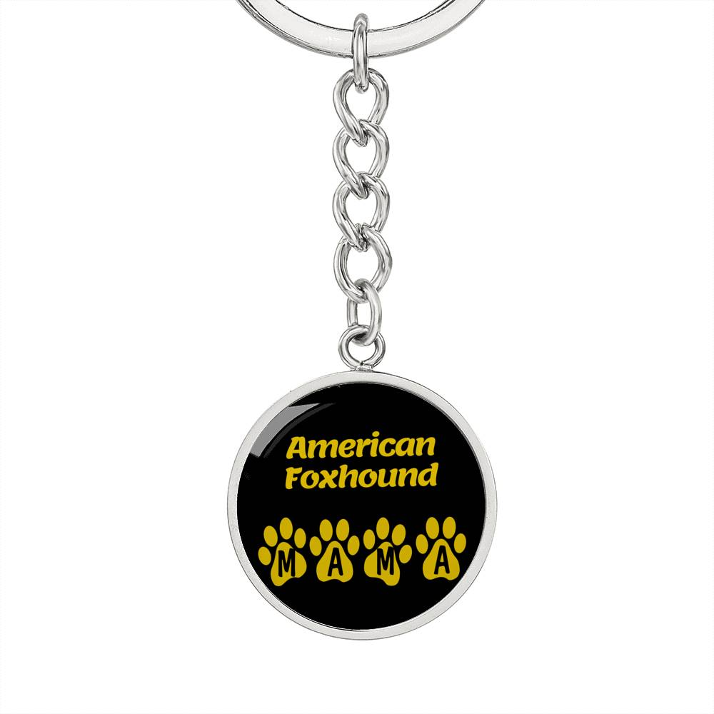 Dog Mom Gift American Foxhound Mama Circle Keychain Stainless Steel or 18k Gold - Express Your Love Gifts