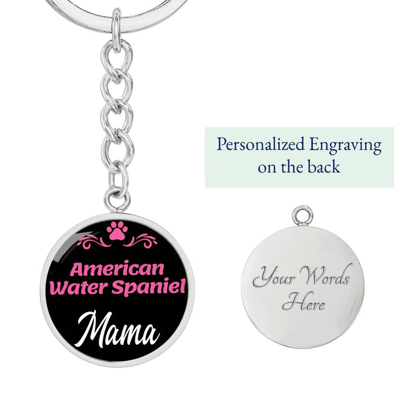 Dog Mom Keyring American Water Spaniel Mama Circle Keychain Stainless Steel Or 18kGold - Express Your Love Gifts