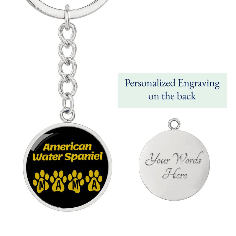 Dog Mom Gift American Water Spaniel Mama Circle Keychain Stainless Steel or 18k Gold - Express Your Love Gifts