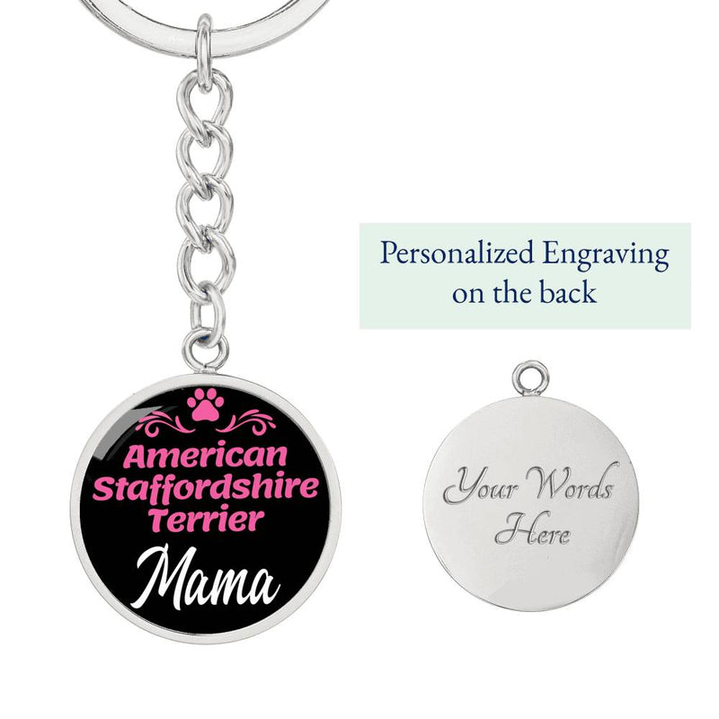 Dog Mom Keyring American Staffordshire Terrier Mama Circle Keychain Stainless Steel Or 18kGold - Express Your Love Gifts