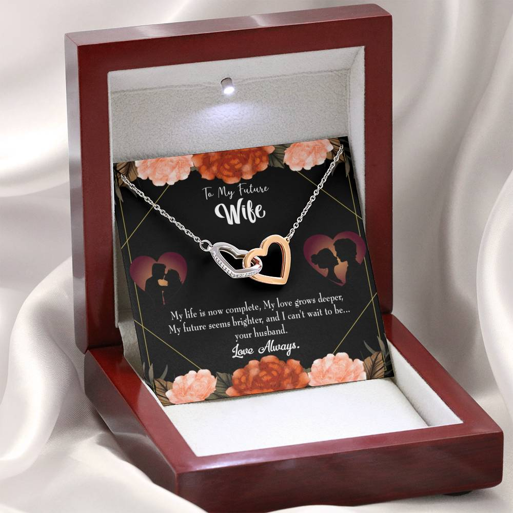 "To My Future Wife I am Complete Inseparable Pendant 18k Rose Gold Finish 16"" - Express Your Love Gifts"