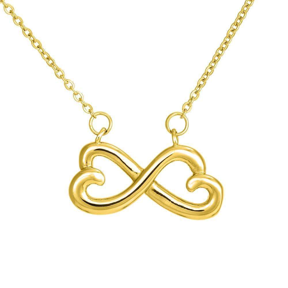 My Treasured Daughter,Infinity Love Necklace, Heartfelt Daughter Card & Pendant Stainless Steel or 18k Gold