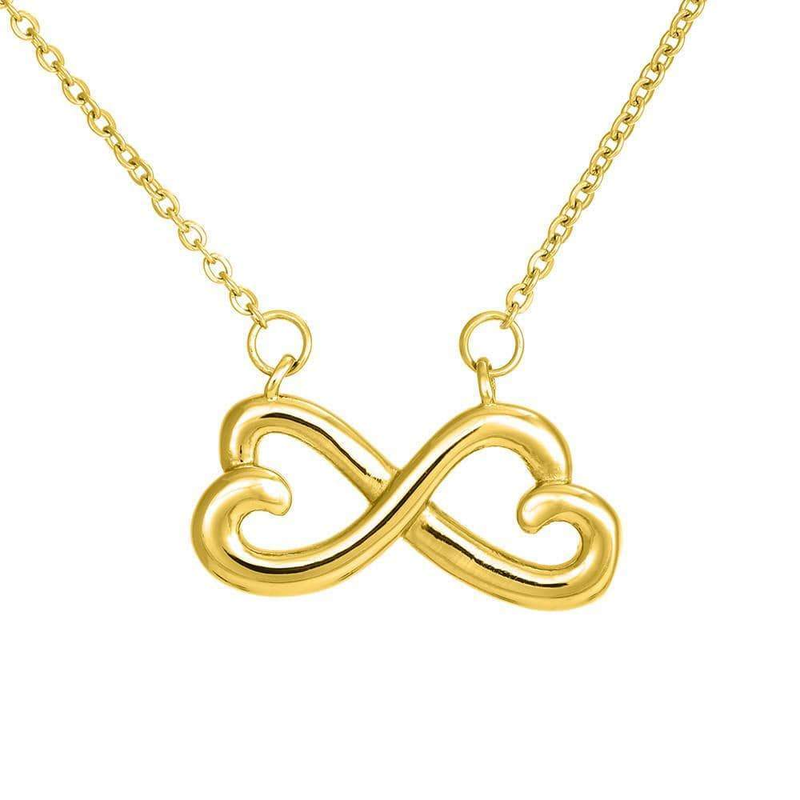 Never Outgrow Dad's Heart Infinity Love Necklace Heartfelt Daughter Card & Pendant Stainless Steel or 18k Gold - Express Your Love Gifts