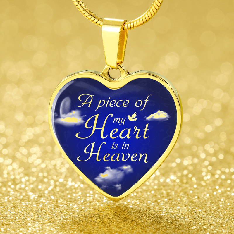 "A Piece Of My Heart Is In Heaven Memorial Stainless Steel Or 18K Gold Finish-Pendant Necklace Adjustable 18""-22"" Express Your Love Gifts"