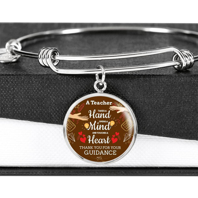 A Teacher Takes A Hand Teacher Stainless Steel or 18k Gold Finish Circle Bracelet Bangle Express Your Love Gifts