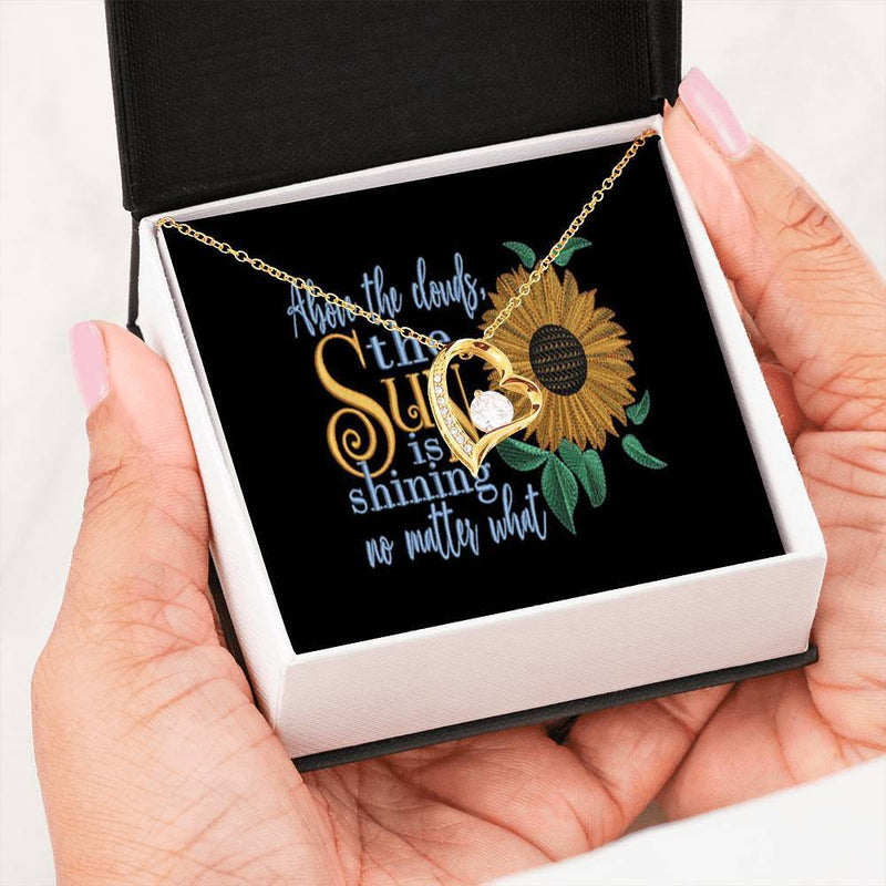 "Above the Clouds, the Sun is Shining no Matter What Cubic Zirconia Love Heart Pendant 18k Gold Finish or Stainless Steel 18"" Necklace Express Your Love Gifts"