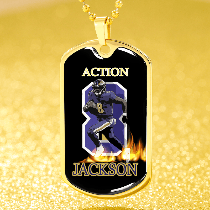 "Action Jackson Baltimore QB Dog Tag Stainless Steel or 18k Gold Finish w 24""Ball Chain Express Your Love Gifts"