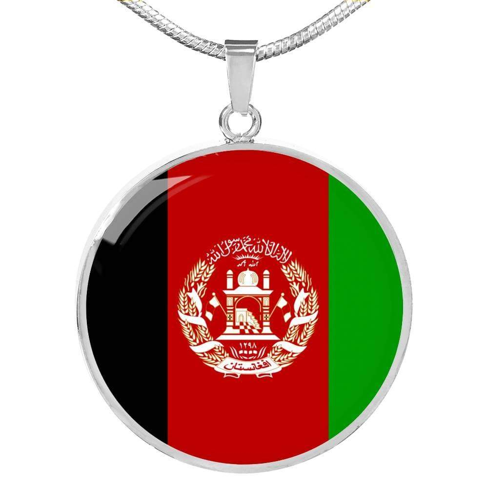 "Afghanistan Flag Love My Country Handmade Circle Pendant Necklace Stainless Steel or 18k Gold Finish Adjustable 18""-22"" Express Your Love Gifts"