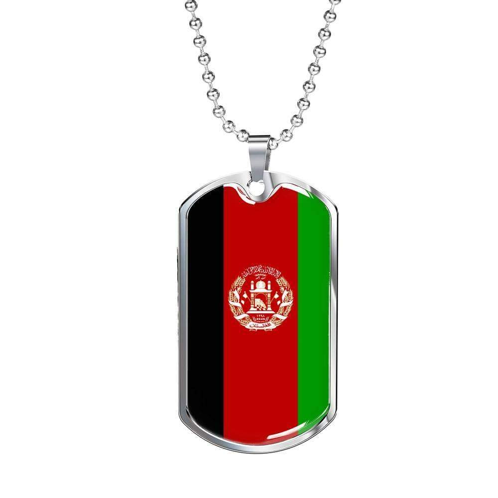 "Afghanistan Flag Love My Country Handmade Necklace Stainless Steel or 18k Gold Dog Tag w 24"" Ball Chain Express Your Love Gifts"
