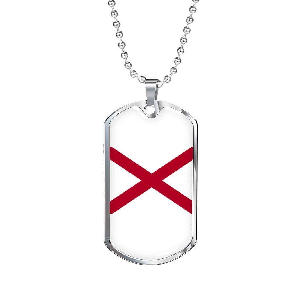 "Alabama Flag Handmade Pendant Necklace Stainless Steel or 18k Gold Military Dog Tag w 24"" Ball Chain Express Your Love Gifts"