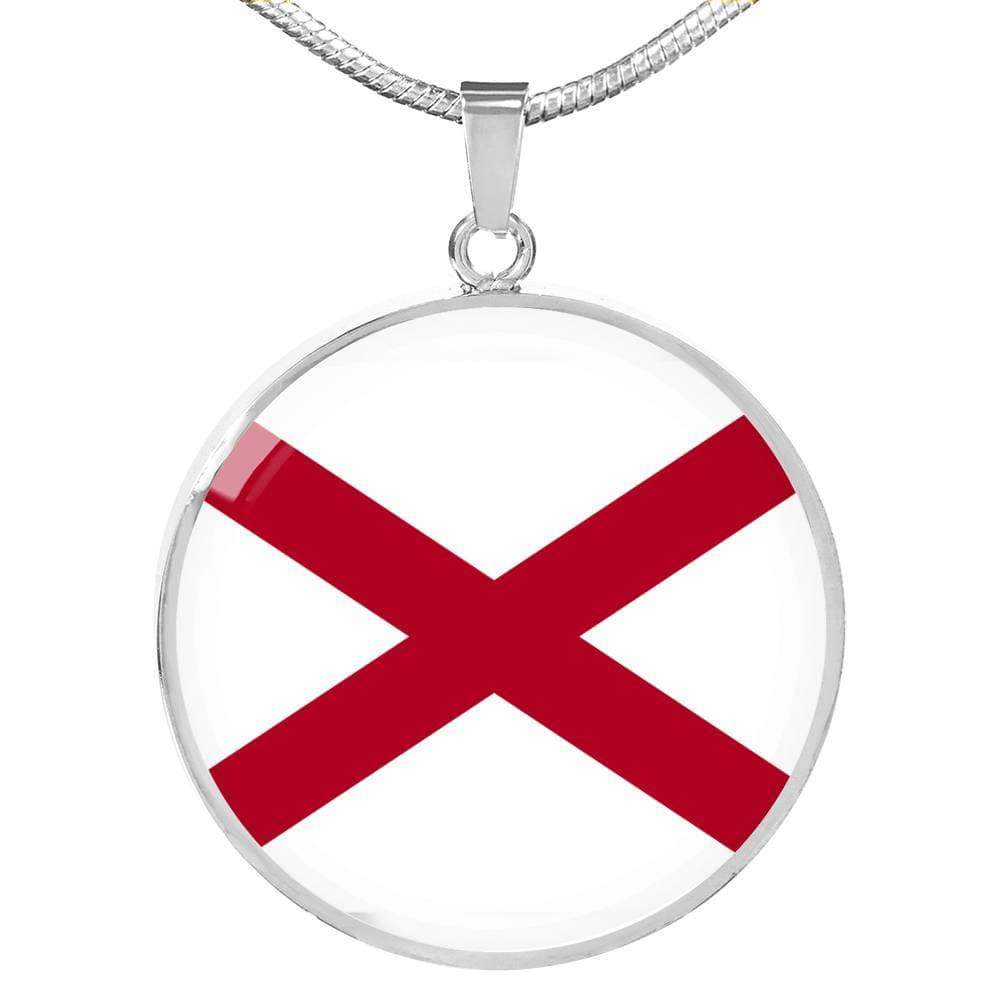 "Alabama State Flag Circle Pendant Stainless Steel or 18k Gold Finish Necklace Adjustable 18""-22"" Express Your Love Gifts"