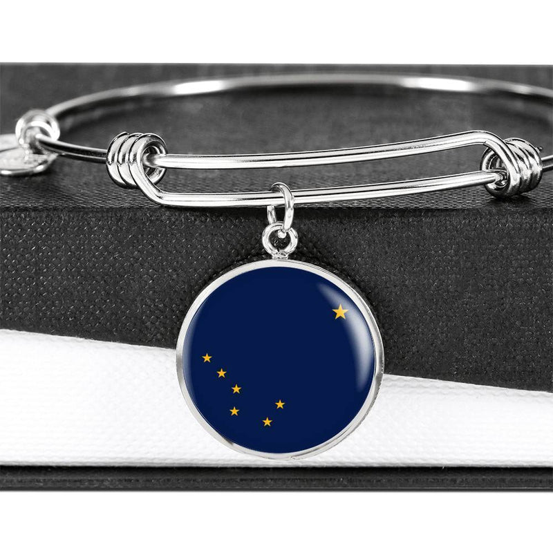 "Alaska State Flag Bracelet Alaska Circle Bangle Stainless Steel or 18k Gold"" - Express Your Love Gifts"