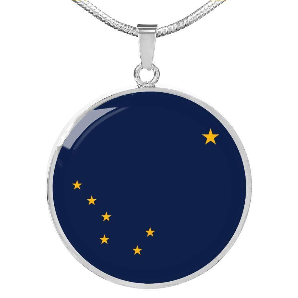 "Alaska State Flag Circle Pendant Stainless Steel or 18k Gold Finish Necklace Adjustable 18""-22"" Express Your Love Gifts"