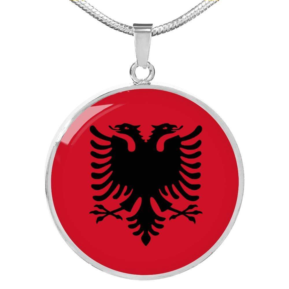 "Albania Flag Love My Country Handmade Circle Pendant Necklace Stainless Steel or 18k Gold Finish Adjustable 18""-22"" Express Your Love Gifts"