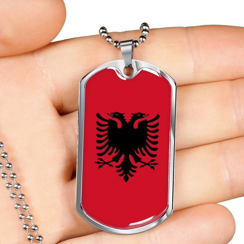 "Albania Flag Love My Country Handmade Necklace Stainless Steel or 18k Gold Dog Tag w 24"" Ball Chain Express Your Love Gifts"