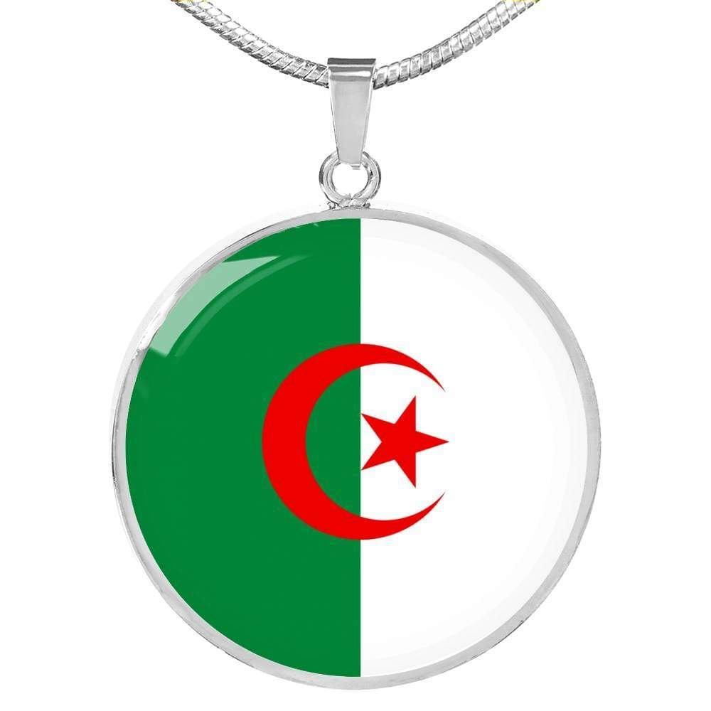 "Algeria Flag Love My Country Handmade Circle Pendant Necklace Stainless Steel or 18k Gold Finish Adjustable 18""-22"" Express Your Love Gifts"