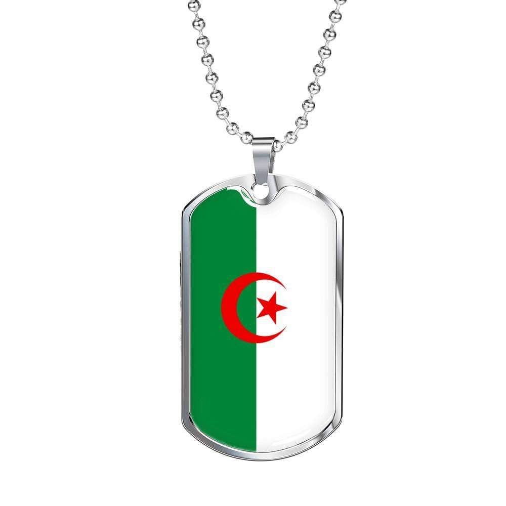 "Algeria Flag Love My Country Handmade Necklace Stainless Steel or 18k Gold Dog Tag w 24"" Ball Chain Express Your Love Gifts"