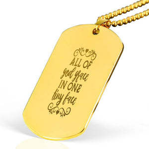 "All of God's grace Bible Verse Necklace Stainless Steel 18k Gold Dog Tag 24"" Ball Chain Express Your Love Gifts"