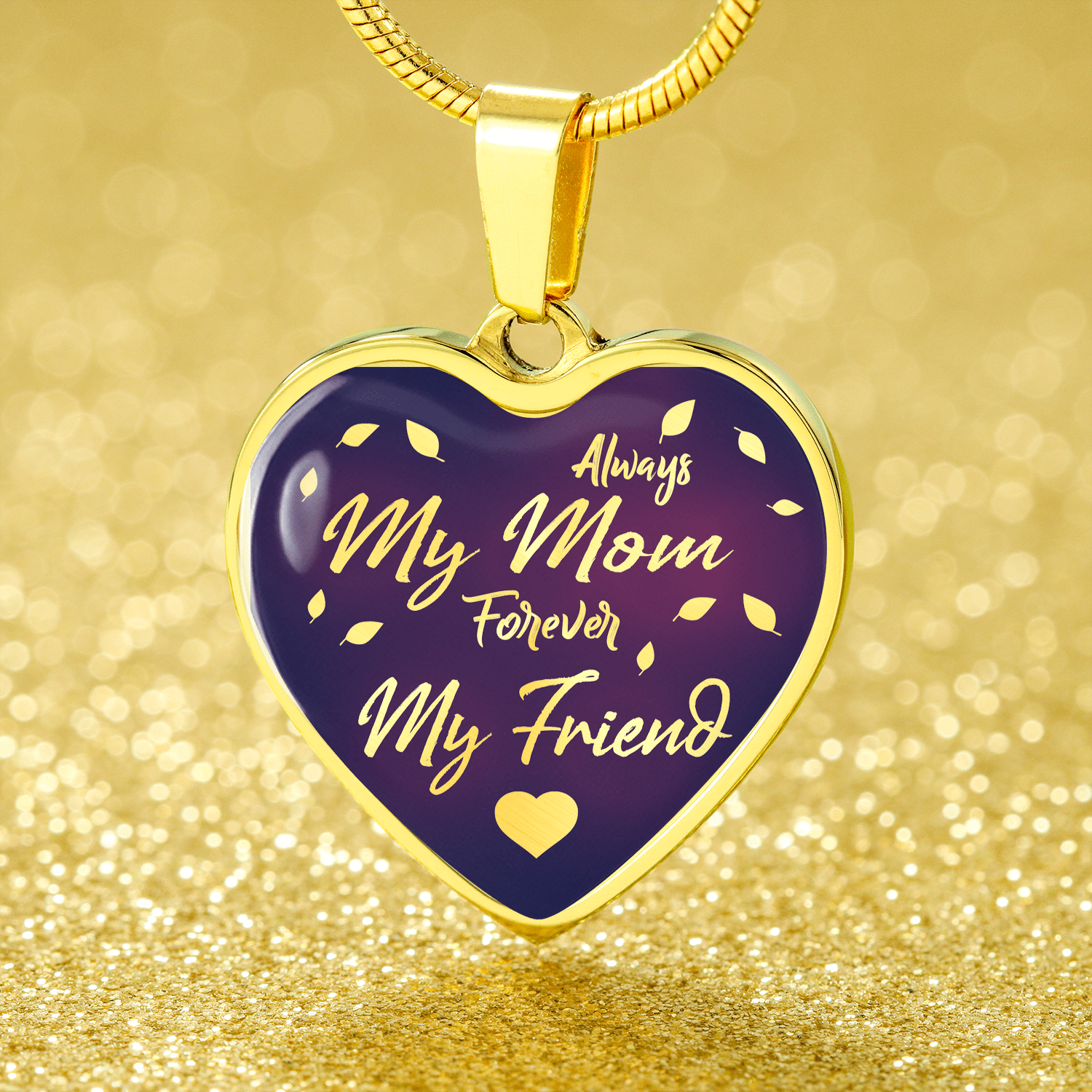 "Always My Mom Forever My Friend Stainless Steel Or 18k Gold Finish Heart Pendant Necklace Adjustable 18""-22"" Express Your Love Gifts"