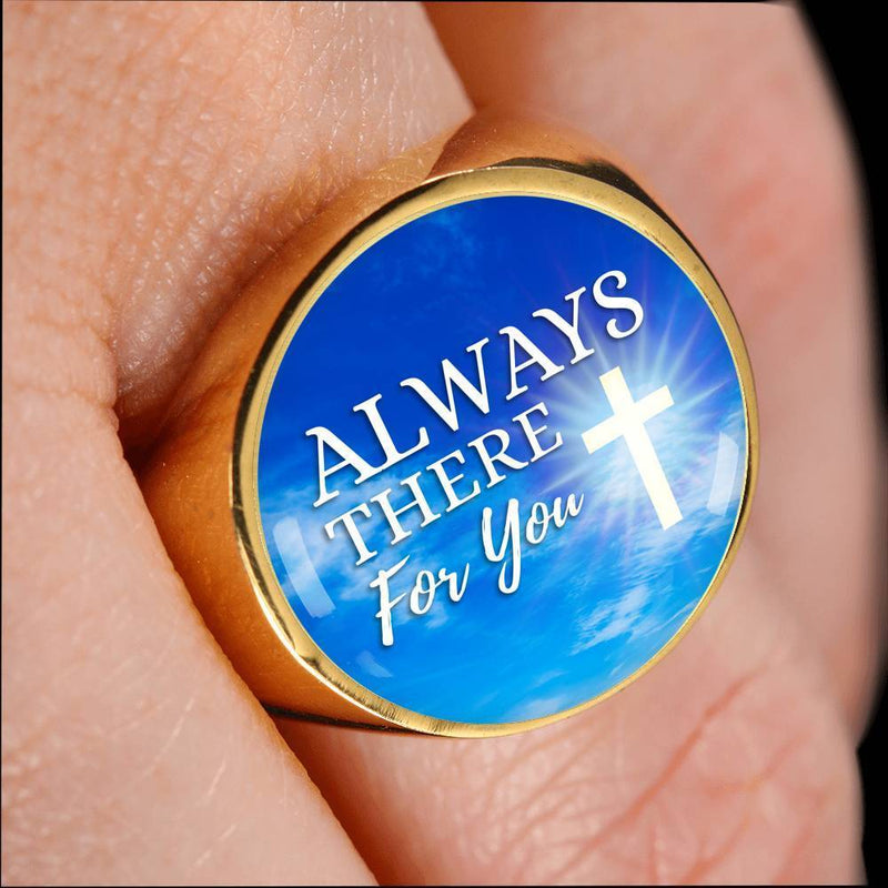Always There For You Handmade 18k Gold Finish Circle Signet Ring Express Your Love Gifts