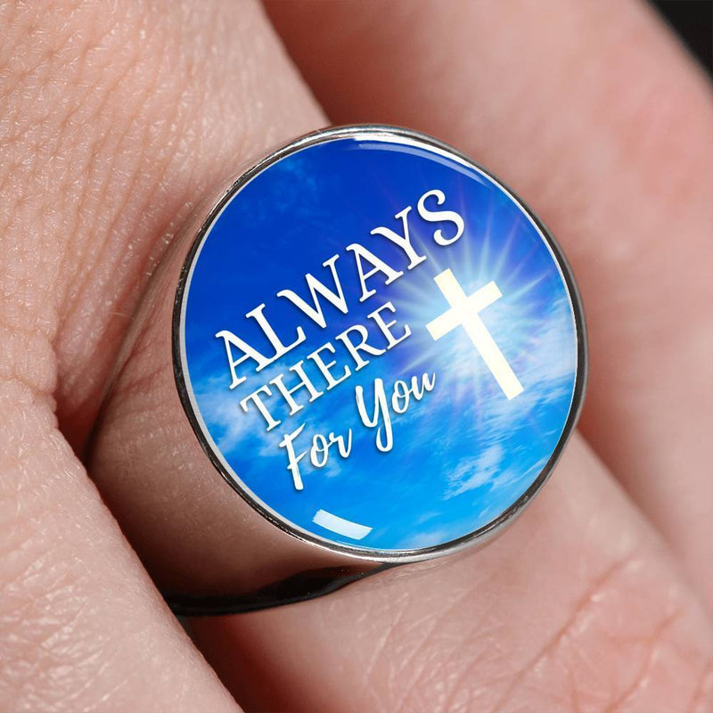 Always There For You SHandmade Stainless Steel Circle Signet Ring Express Your Love Gifts