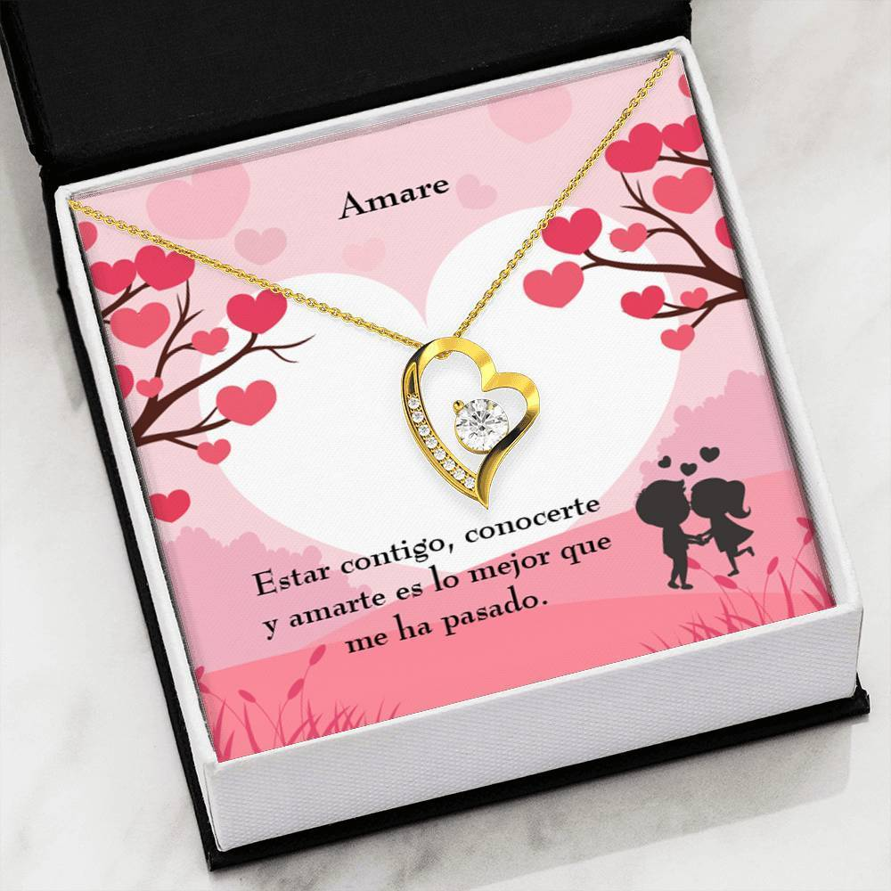 "Amare CZ Love Heart Pendant 18k Gold or Stainless Steel 18"" Necklace - Express Your Love Gifts"