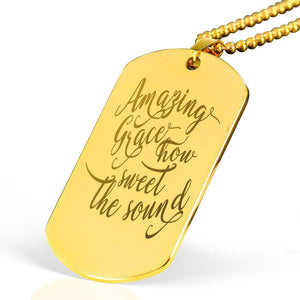 "Amazing Grace Bible Verse Necklace Stainless Steel 18k Gold Dog Tag 24"" Ball Chain Express Your Love Gifts"