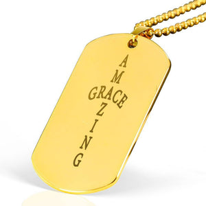 "Amazing Grace Cross Bible Verse Necklace Stainless Steel 18k Gold Dog Tag 24"" Ball Chain Express Your Love Gifts"