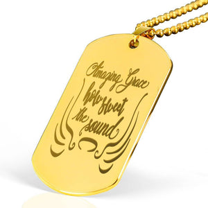 "Amazing Grace how sweet the sound Bible Verse Necklace Stainless Steel 18k Gold Dog Tag 24"" Ball Chain Express Your Love Gifts"