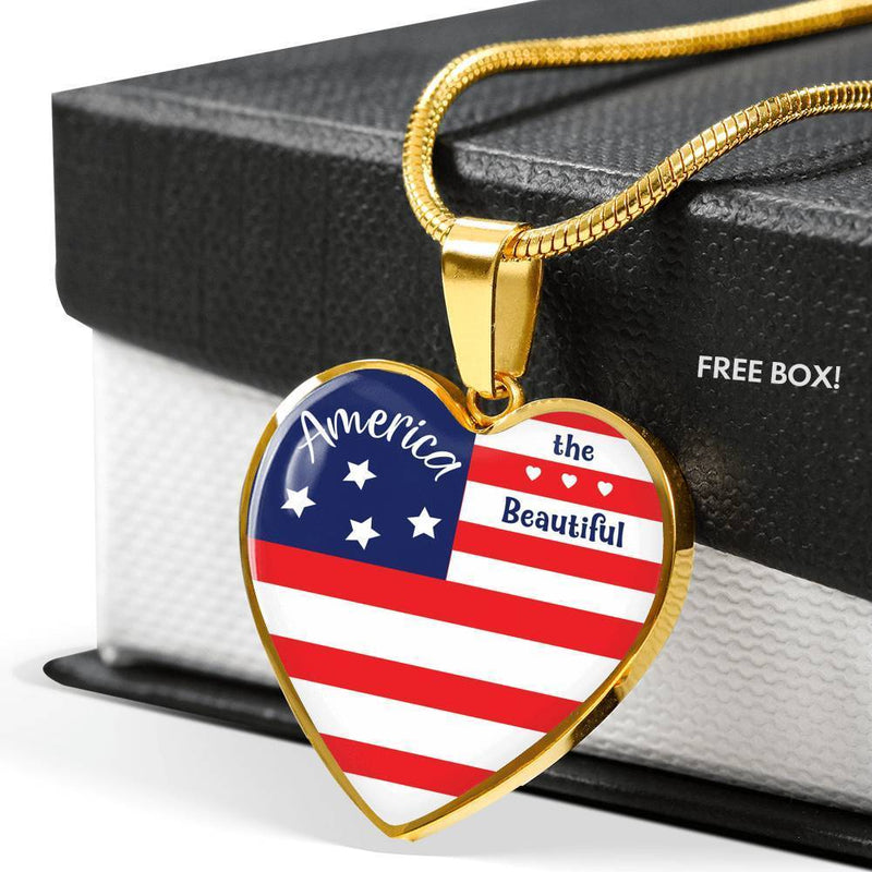 "America the Beautiful Patriotic Heart Pendant Necklace Stainless Steel or 18k Gold Finish Adjustable 18""-22"" Express Your Love Gifts"