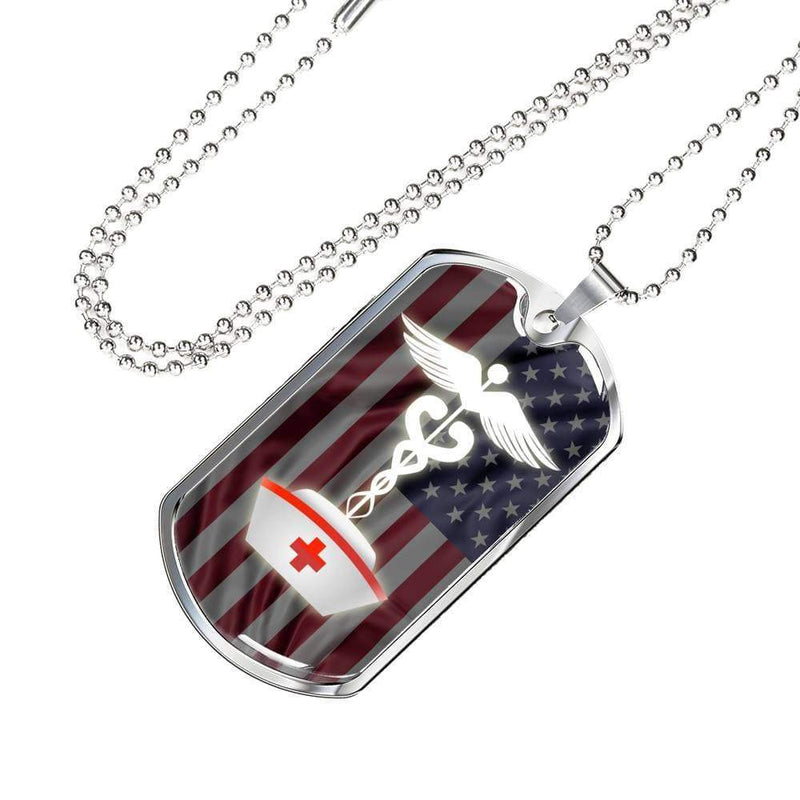 "American Flag Nurse Jewelry Gift Necklace Stainless Steel or 18k Gold Military Dog Tag w 24"" Ball Chain Express Your Love Gifts"