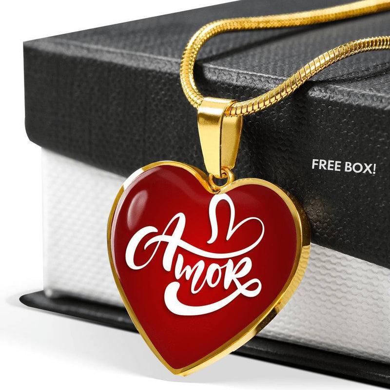 "Amor Spanish Love Message Necklace Stainless Steel or 18k Gold Finish Heart Pendant Adjustable 18""-22"" Express Your Love Gifts"