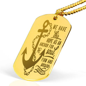 "Anchor for My Soul Hebrews Bible Verse Necklace Stainless Steel 18k Gold Dog Tag 24"" Ball Chain Express Your Love Gifts"
