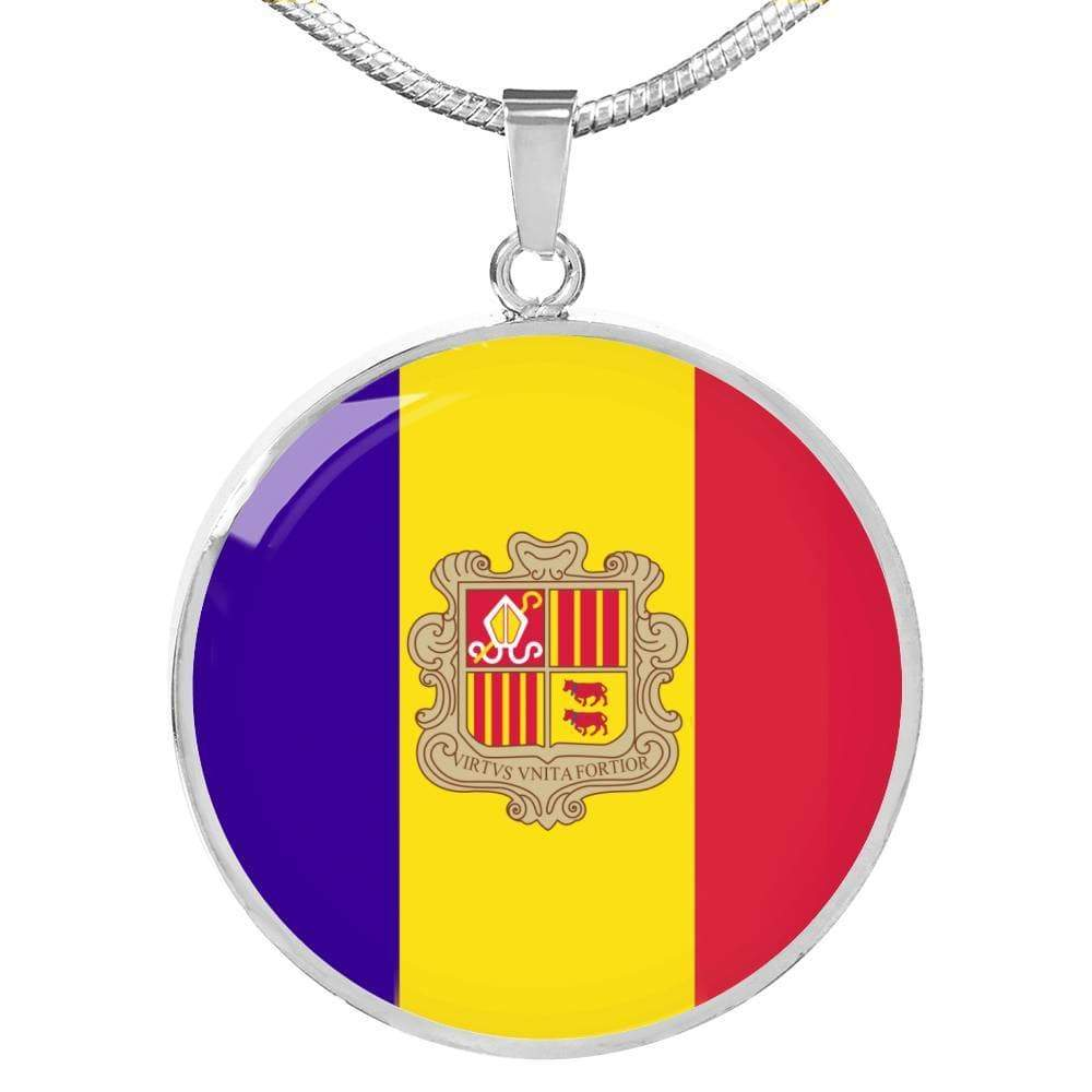 "Andorra Flag Love My Country Handmade Circle Pendant Necklace Stainless Steel or 18k Gold Finish Adjustable 18""-22"" Express Your Love Gifts"